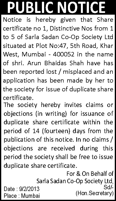 Loss of share certificate
